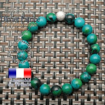 Bracelet avec sa boule brillante unie strass en argent 925 pour bracelet femme naturelle pierre chrysocolle