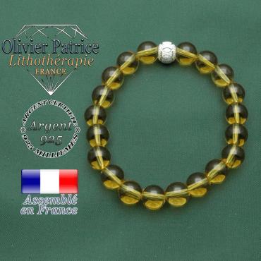 Bracelet citrine pierre naturelle et son appret argent 925 strass des jeux olympiques symbole JO