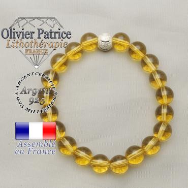 Bracelet citrine sourire argent 925 avec pierres naturelles et apprêt rond strass 8 mm