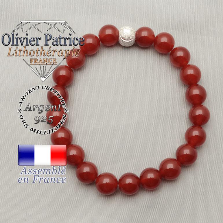 Bracelet cornaline argent 925 avec sa boule brillante sourire strass argent et pierres naturelles roulées