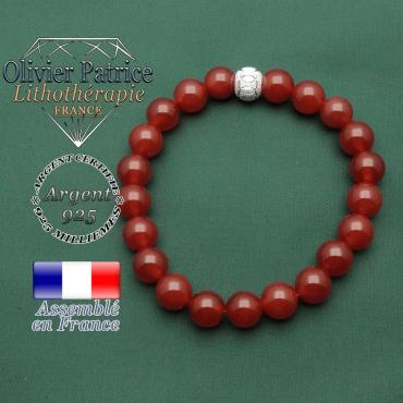 Cornaline naturelle roulées montées en bracelet avec appret argent 925 brillant et strass des jeux olympiques cercles gravés