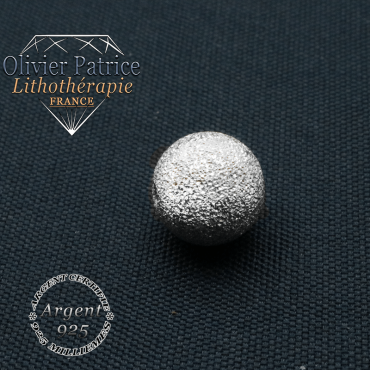 Boule finition strass argent 925 unie en 8 mm pour votre bracelet cristal de roche