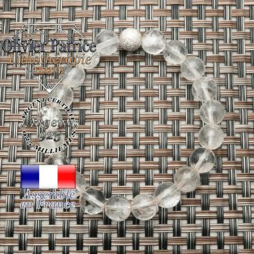 Bracelet femme naturelle cristal de roche et son apprêt argent 925 uni strass brillant