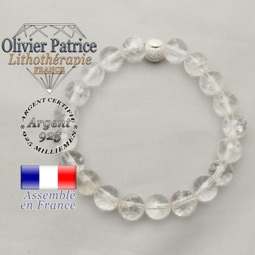 Souriez nous avec votre bracelet femme argent 925 en cristal de roche et boule argent strass smiley !