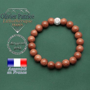 Votre bracelet femme argent 925 et sa boule brillante strass des jeux JO olympiques sport et goldstone pierre de Venise