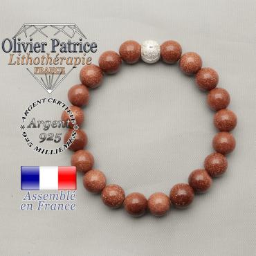 Bracelet femme de Venise création alchimique Miotti goldstone sable grain et boule strass argent sourire