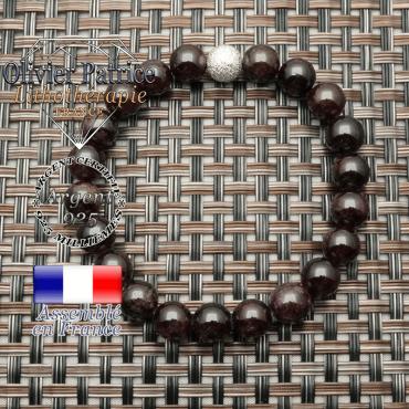 Bracelet uni strass argent 925 femme avec pierre grenat naturel 8 mm