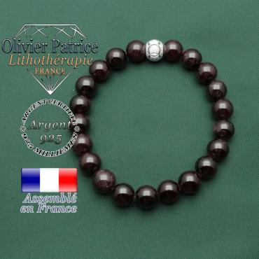Strass anneaux olympiques pour bracelet sportif et féminin grenat naturel et argent 925