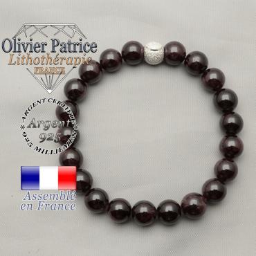 Bracelet argent 925 pour femme sourire avec son apprêt strass uni et ses pierres grenat naturelles