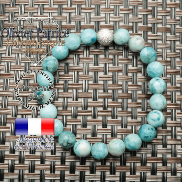 Bracelet d'hémimorphite naturelle avec une boule strass argent 925 pour femme