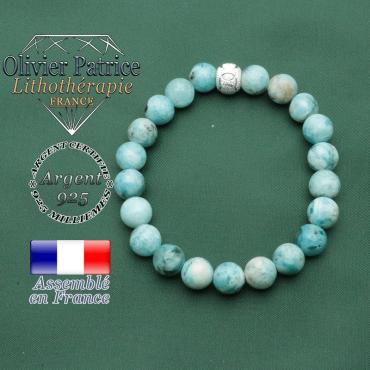 Bracelet strass jeux sportifs en argent 925 et pierres hemimorphite effet naturel assuré