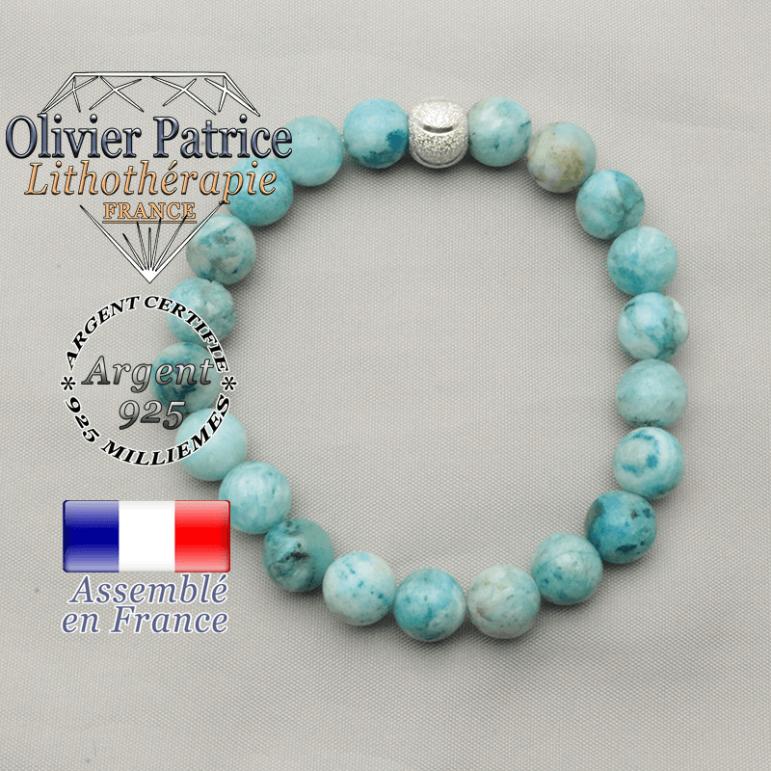 Bracelet pierre gemme hemimorphite monté avec une boule 8 mm strass souriante smiley gravé
