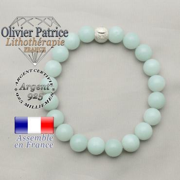 Bracelet pour retrouver le sourire en argent 925 avec son apprêt et pierres jade vert pour femme