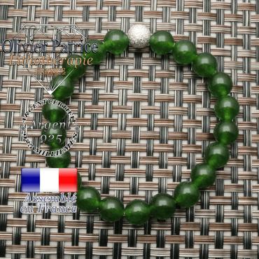 Bracelet femme jade taiwan argent 925 boule brillante finition strass