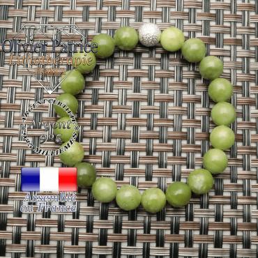 Bracelet femme jade nephrite du canada avec sa finition brillante d'argent 925
