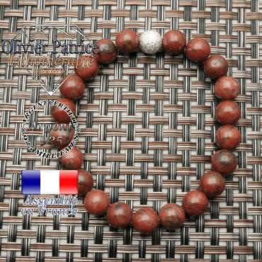 Bracelet femme argent jaspe rouge  naturel et boule 8 mm brillante