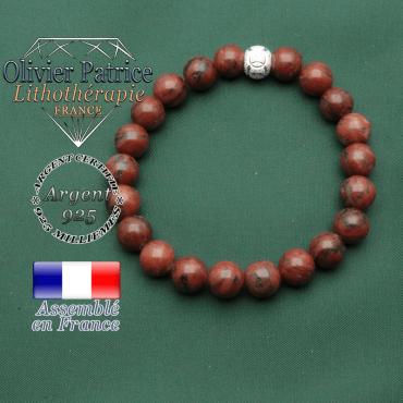 Jaspe rouge naturel de 8 mm monté sur un bracelet avec une boule strass des jeux olympiques et leurs anneaux