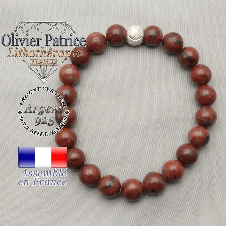 Souriez vous avez l'apprêt du smile : boule brillante strass et perles naturelles de jaspe rouge pour un bracelet féminin
