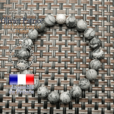 Bracelet naturel femme jaspe crazy lace et finition brillante argent 925