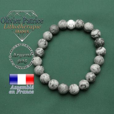 Jaspe naturel crazy lace et gris pour bracelet femme et apprêt jeux