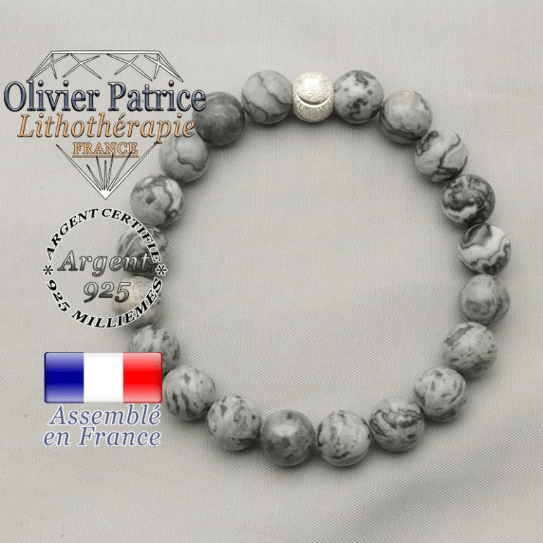 Bracelet pour trouver le sourire avec son apprêt brillant de 8 mm et pierres naturelles de jaspe gris crazy lace