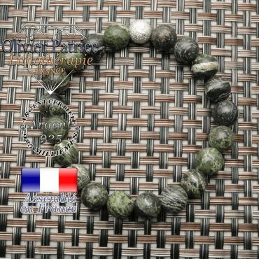 Bracelet femme jaspe zebre vert et boule brillante de 8 mm ronde et strass argent 925