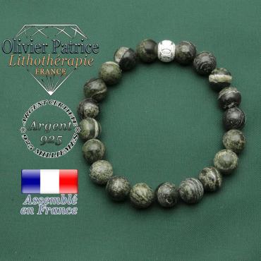 Jaspe zebre vert 8 mm monté sur un bracelet femme argent 925 avec apprêt anneaux des jeux olympiques