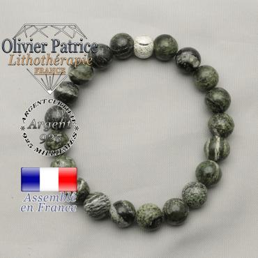 Bracelet de jaspe femme naturel zebre vert et finition smiley sourire en argent 925