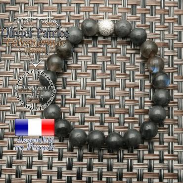 Bracelet naturel labradorite roulée de 8 mm avec boule strass brillante argent 925