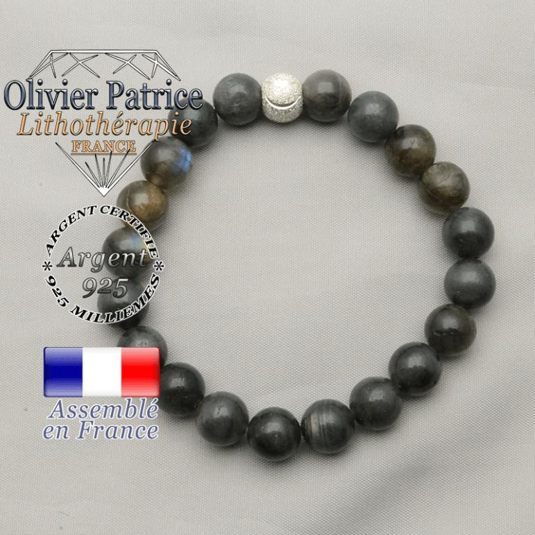 Bracelet femme labradorite naturelle et smiley finition argent 925 pour ramener le sourire
