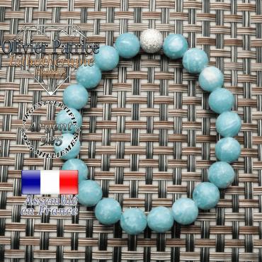 Bracelet larimar naturel pour femme avec finition strass unie en argent 925