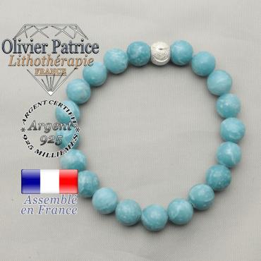 Bracelet smiley sourire finie en argent 925 avec pierres naturelles de larimar pour femme