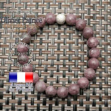 Lépidolite naturelle montée en bracelet avec finition strass unie argent 925