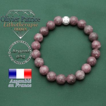 Bracelet spécial anneaux des JO avec pierres naturelles de lepidolite