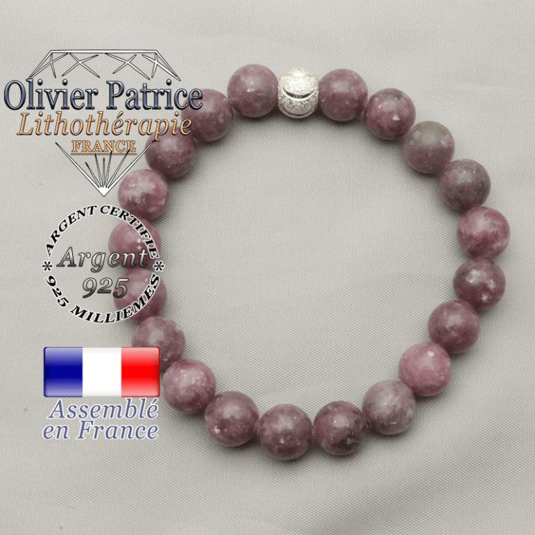 Bracelet femme du sourire en argent 925 avec lepidolite pierre naturelle