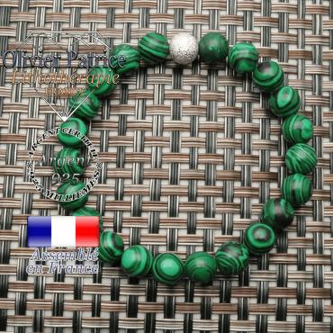 Bracelet femme naturelle malachite 8 mm et apprêt brillant argent 925