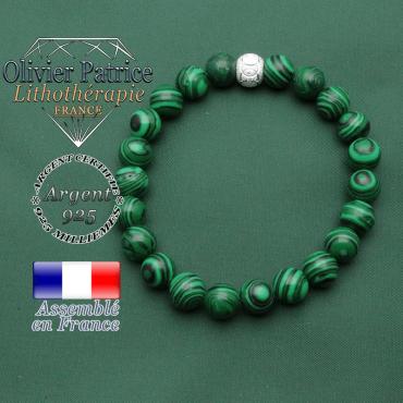 Bracelet femme avec anneaux argent brillant JO et malachite ronde naturelle