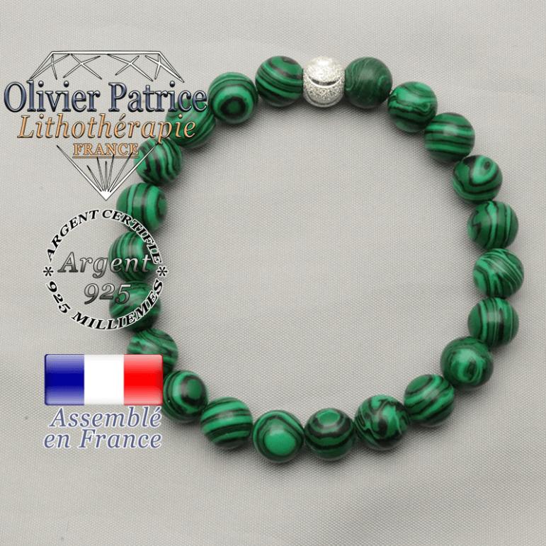Bracelet de perles rondes malachite verte et sourire brillant en argent 925