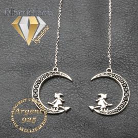 Boucles d'oreilles sorcière sur sa lune en argent 925