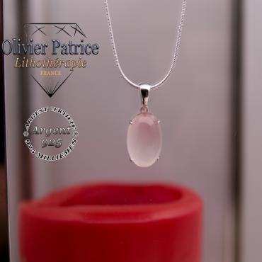 Pendentif quartz rose pierre ovale en argent 925