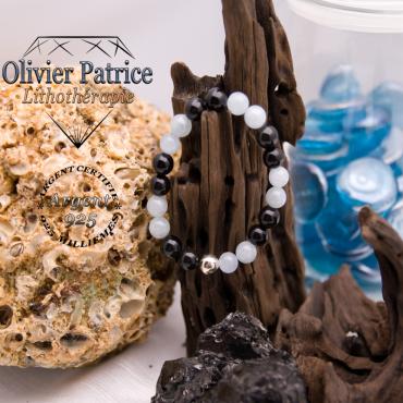 Bracelet en obsidienne et aigue marine avec boule lisse argent 925