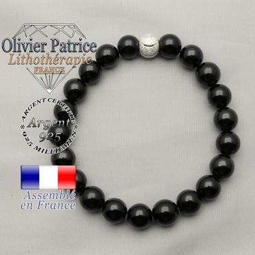 Bracelet tout sourire en argent 925 et boule brillante avec perles obsidienne naturelles