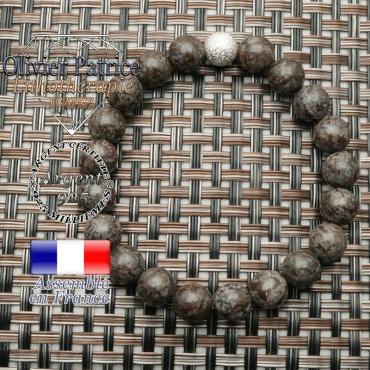 Bracelet obsidienne neige brune avec son appret strass uni argent 925 pour femme