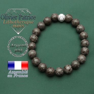 Bracelet de 8 mm en obsidienne brune neige naturelle pour femme avec apprêt jeux olympiques