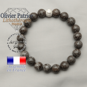 Bracelet femme obsidienne neige brune avec finition argent 925 ronde de 8 mm sourire