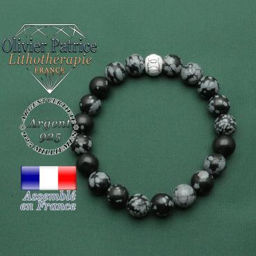 Bracelet des JO obsidienne neige argent 925 avec appret rond de 8 mm