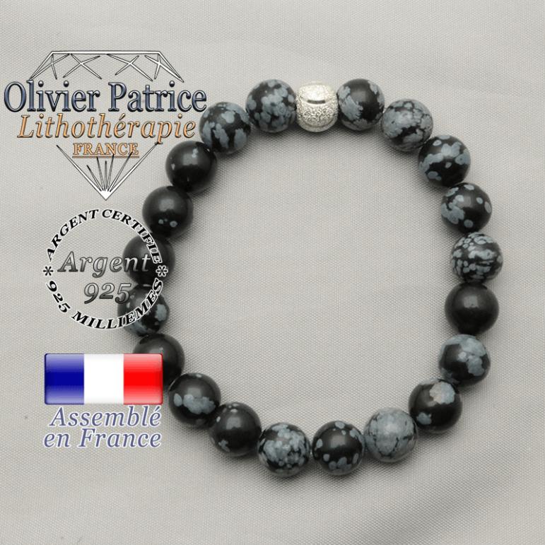Bracelet obsidienne neige naturelle de 8 mm avec apprêt rond sourire et argent 925