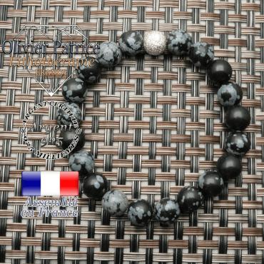 Bracelet strass finition unie en argent 925 pour pierres naturelles rondes de 8 mm obsidienne neige