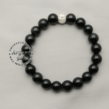 Bracelet perles naturelles obsidienne oeil céleste en 8 mm avec son apprêt du sourire argent 925 pour cadeau femme
