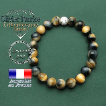 Bracelet femme anneaux des jeux olympiques sportifs en argent 925 de 8 mm et oeil de faucon naturel bleu tigre